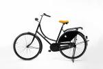 Oranje fietszadel op de fiets